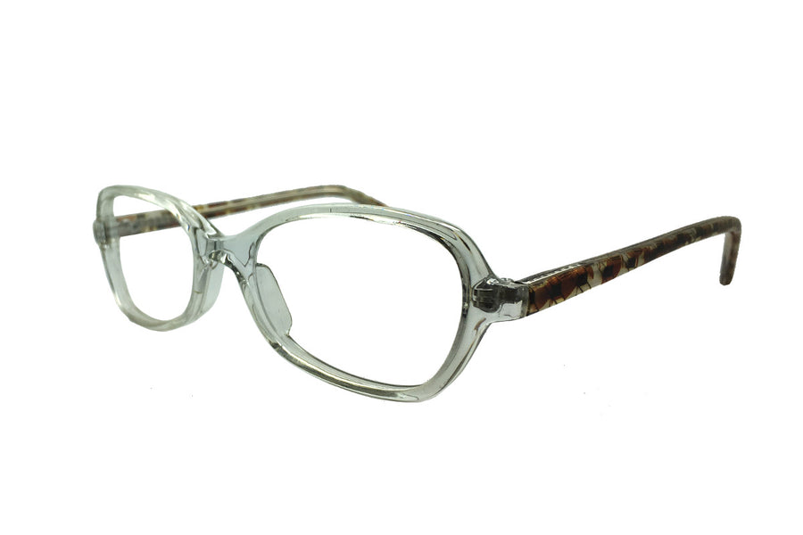 Clear/patterned acetate children's glasses frames by Mr Foureyes, Oscar style, angle shot