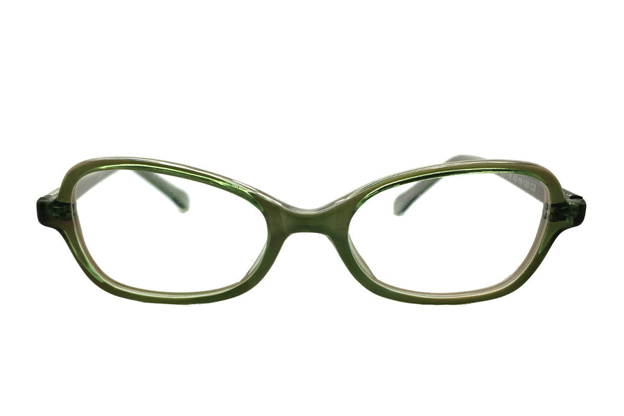 Green acetate children's glasses frames by Mr Foureyes, Oscar style, front shot