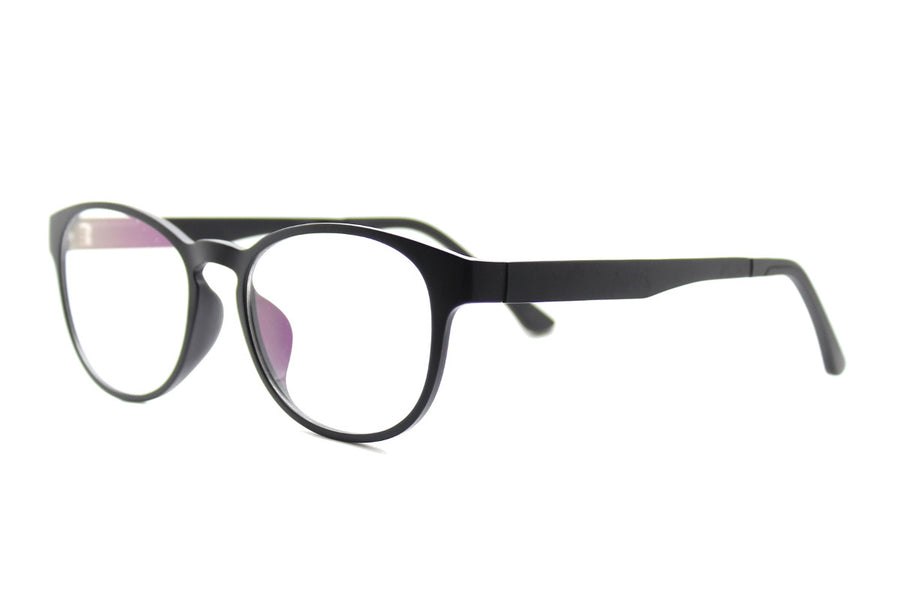 Phoenix clip-on prescription sunglasses by Mr Foureyes angle shot optical glasses in black