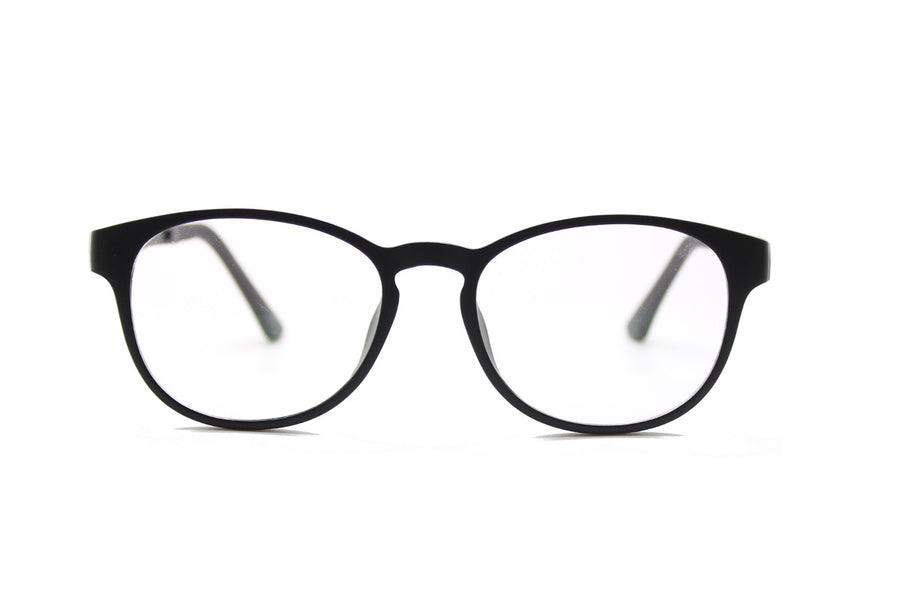 Phoenix clip-on prescription sunglasses by Mr Foureyes front shot optical glasses in black