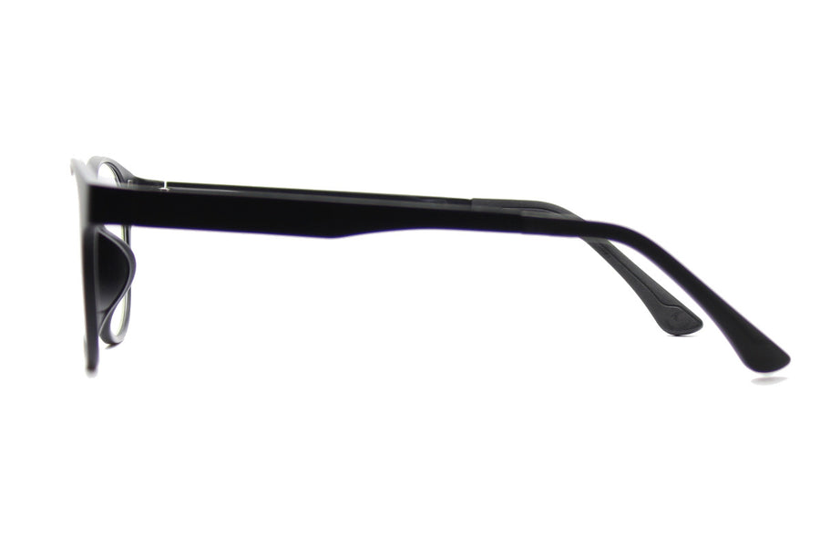 Phoenix clip-on prescription sunglasses by Mr Foureyes side shot optical glasses in black