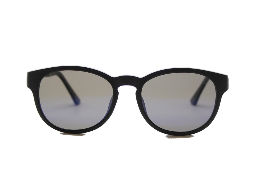 Phoenix clip-on prescription sunglasses by Mr Foureyes front shot with clip-ons with grey polarised lenses
