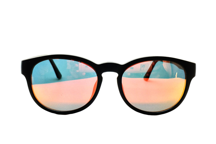 Phoenix clip-on prescription sunglasses by Mr Foureyes front shot with mirrored polarised lenses clip-ons