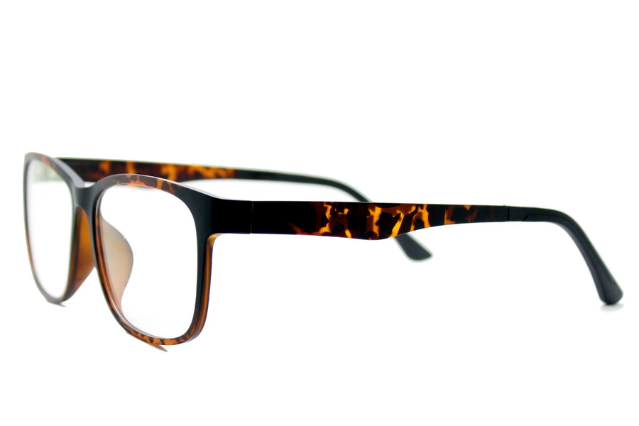Reese clip-on prescription sunglasses by Mr Foureyes angle shot optical glasses in tortoiseshell
