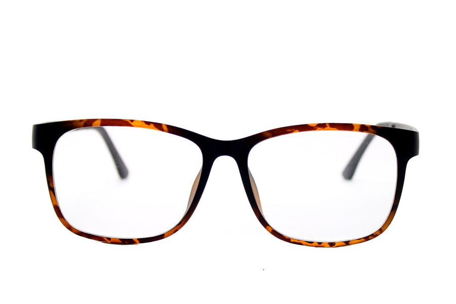 Reese clip-on prescription sunglasses by Mr Foureyes front shot optical glasses in tortoiseshell