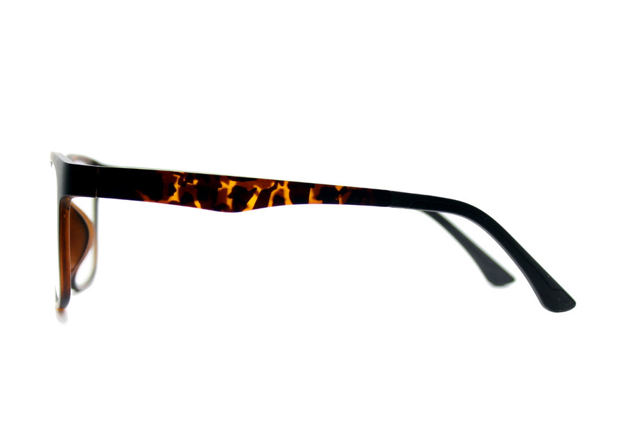 Reese clip-on prescription sunglasses by Mr Foureyes side shot optical glasses in tortoiseshell