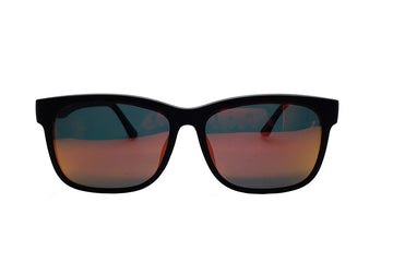 Reese clip-on prescription sunglasses by Mr Foureyes front shot with clip-ons with mirrored polarised lenses