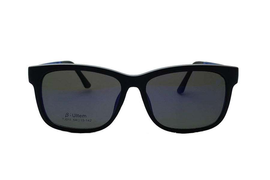 Reese clip-on prescription sunglasses by Mr Foureyes front shot with clip-ons with grey polarised lenses