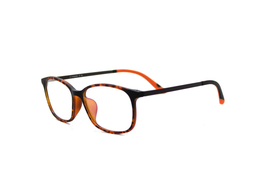 Bold orange tortoiseshell acetate glasses frames by Mr Foureyes, angle shot