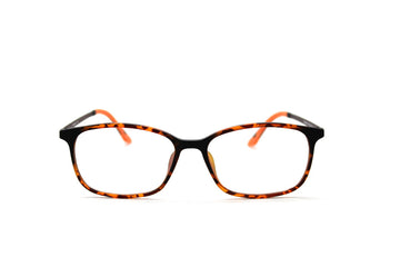 Bold orange tortoiseshell acetate glasses frames by Mr Foureyes, front shot