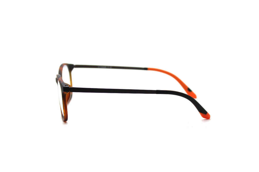 Bold orange tortoiseshell acetate glasses frames by Mr Foureyes, side shot