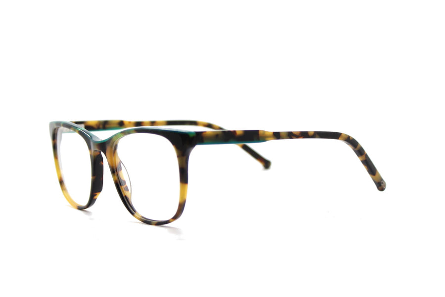 Bold tortoiseshell & green acetate glasses frames by Mr Foureyes (Rita style, angle shot)