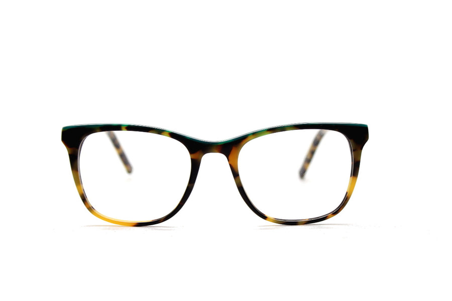 Bold tortoiseshell & green acetate glasses frames by Mr Foureyes (Rita style, front shot)