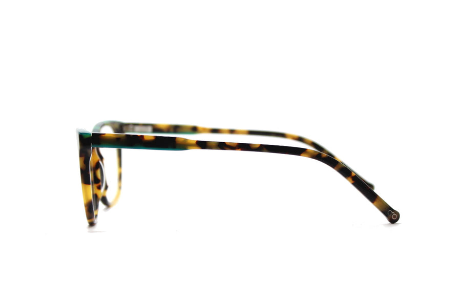 Bold tortoiseshell & green acetate glasses frames by Mr Foureyes (Rita style, side shot)