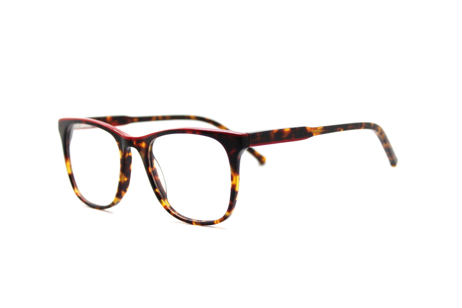 Bold tortoiseshell & red acetate glasses frames by Mr Foureyes (Rita style, angle shot)