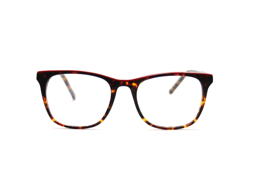 Bold tortoiseshell & red acetate glasses frames by Mr Foureyes (Rita style, front shot)