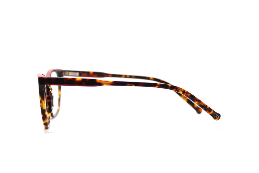 Bold tortoiseshell & red acetate glasses frames by Mr Foureyes (Rita style, side shot)