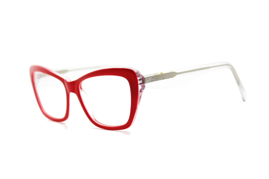 Bright crimson red acetate glasses frames by Mr Foureyes (Scarlett style, angle shot)