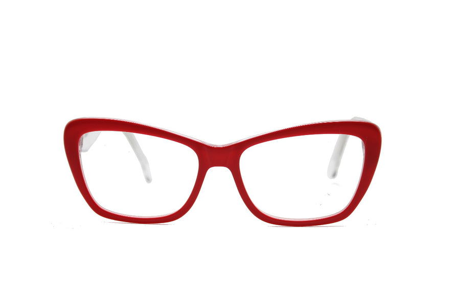 Bright crimson red acetate glasses frames by Mr Foureyes (Scarlett style, front shot)