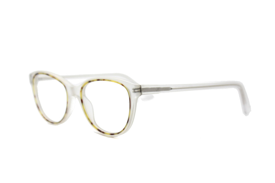 Beautiful clear & white marble tortoiseshell acetate glasses frames by Mr Foureyes (limited edition Shell style, angle shot)