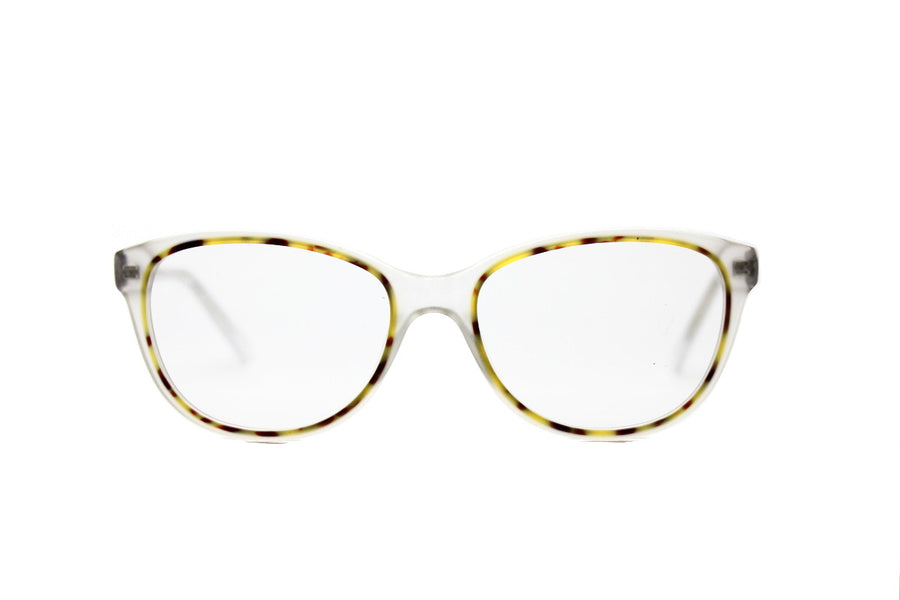 Beautiful clear & white marble tortoiseshell acetate glasses frames by Mr Foureyes (limited edition Shell style, front shot)