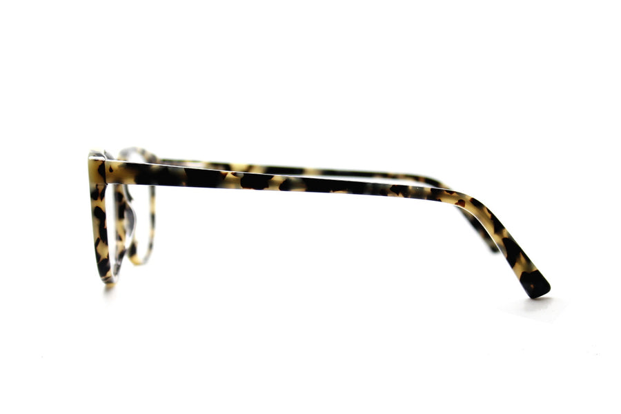 Beautiful white marble tortoiseshell acetate glasses frames by Mr Foureyes (limited edition Shell style, side shot)