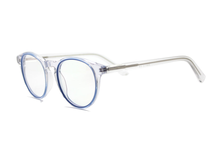 Stylish clear & blue acetate glasses frames by Mr Foureyes (Sky style, angle shot)