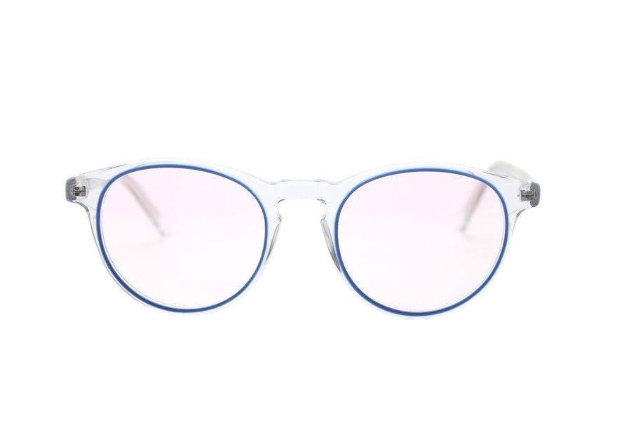 Stylish clear & blue acetate glasses frames by Mr Foureyes (Sky style, front shot)