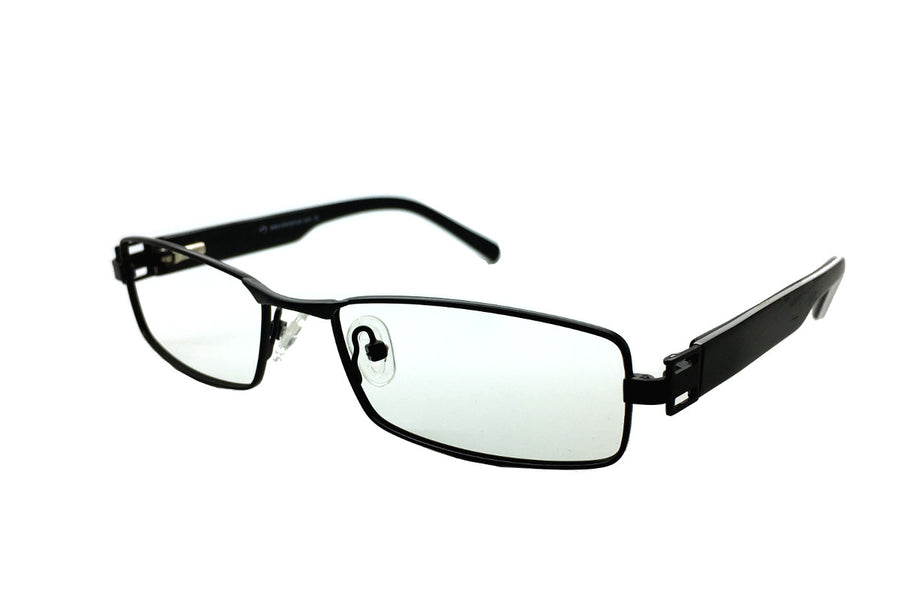 Metal children's glasses frames by Mr Foureyes (Stanley style in black, angle shot)