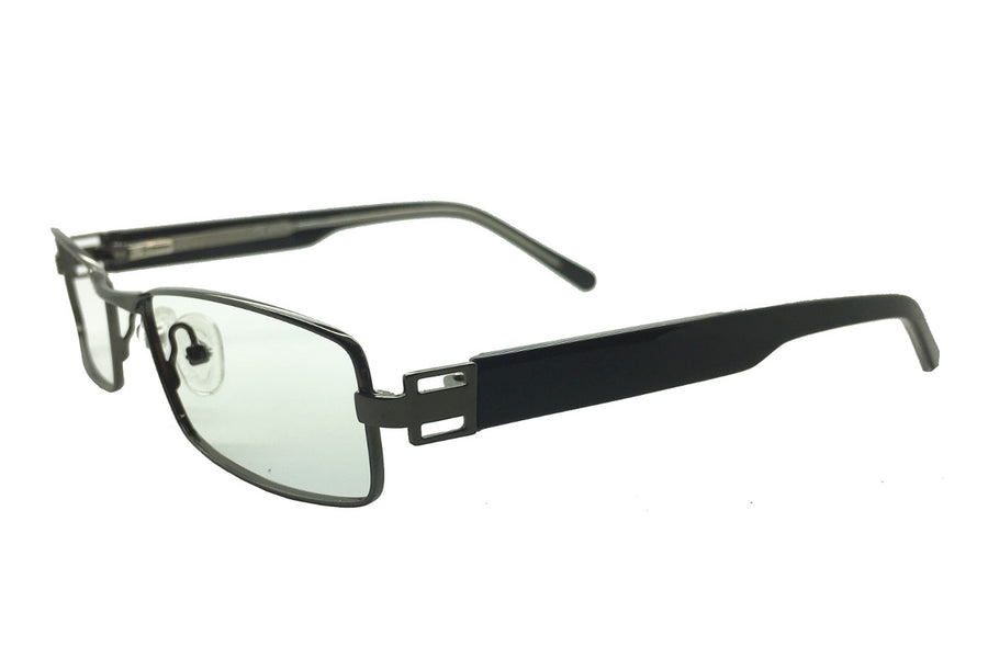 Metal children's glasses frames by Mr Foureyes (Stanley style in gunmetal grey, angle shot)