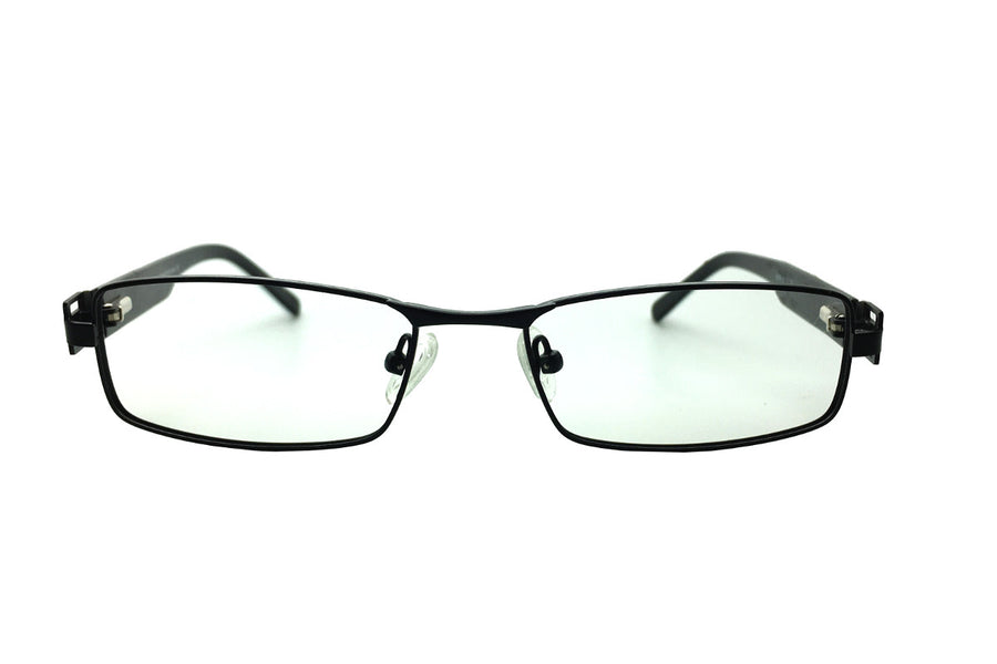 Metal children's glasses frames by Mr Foureyes (Stanley style in black, front shot)