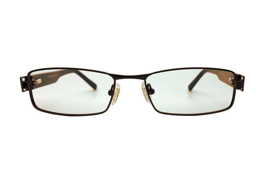 Metal children's glasses frames by Mr Foureyes (Stanley style in brown, front shot)