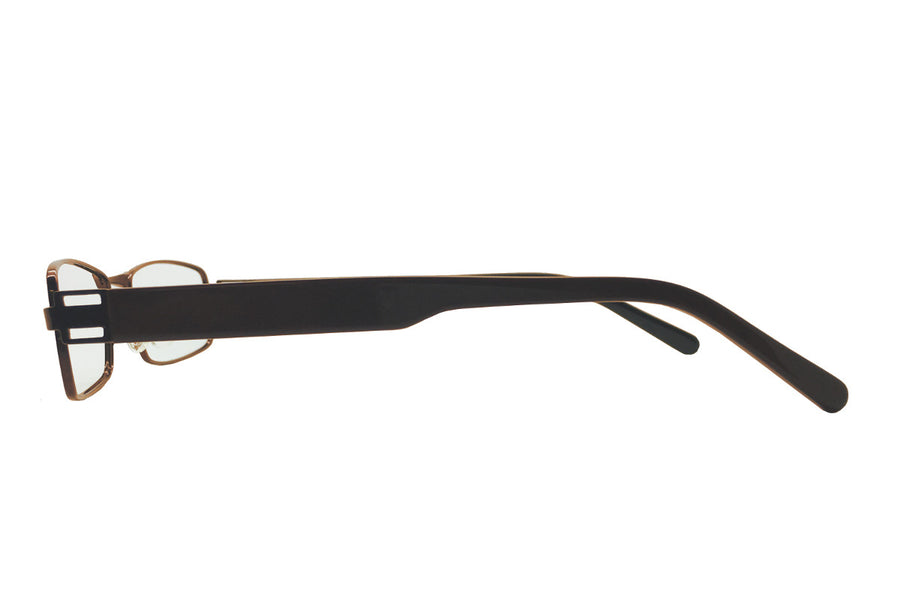 Metal children's glasses frames by Mr Foureyes (Stanley style in brown, side shot)