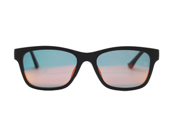 Taylor clip-on prescription sunglasses by Mr Foureyes front shot with clip-ons with mirrored polarised lenses