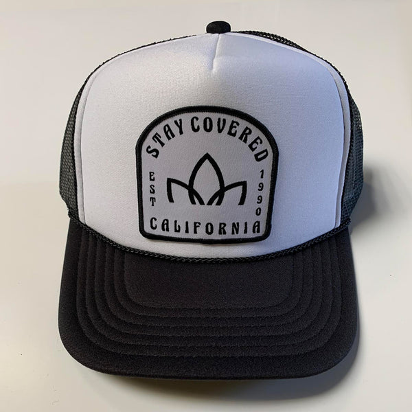 Lotus Trucker Hat - Black/White