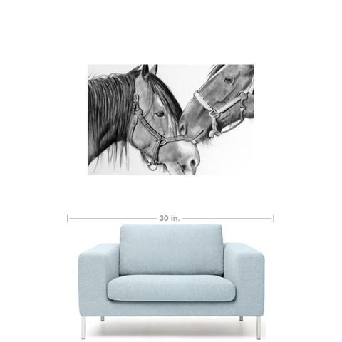 Horse Love Black & White Canvas Gallery Wrap