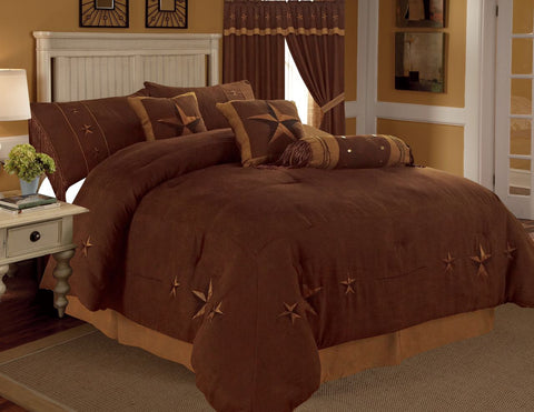 Rustic Brown Embroidery Star Western Luxury Comforter - 7 Pc Set