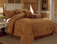 Rustic Rust Embroidery Star Western Luxury Comforter - 7 Pc Set