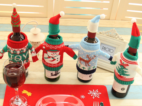 Knitted Christmas 4pc Bottle Set