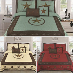 5 PIECE Star Barbed Wire Quilt Set