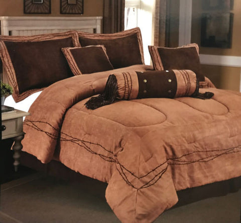 Embroidery Texas Barbed Wire Cowboy Western Luxury Comforter Suede -7 Pieces Set