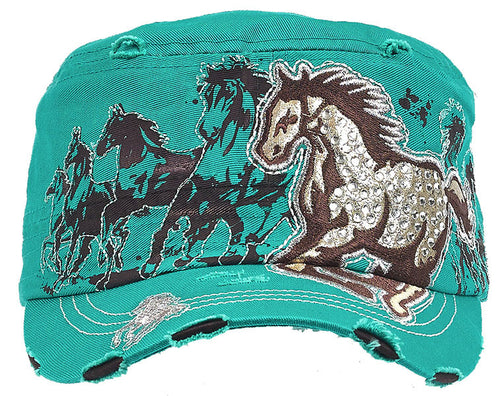 Cadet Cap with Running Horses highlighted by Rhinestones