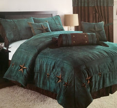 Rustic Turquoise Embroidery Star Western Luxury Comforter - 7 Pc Set