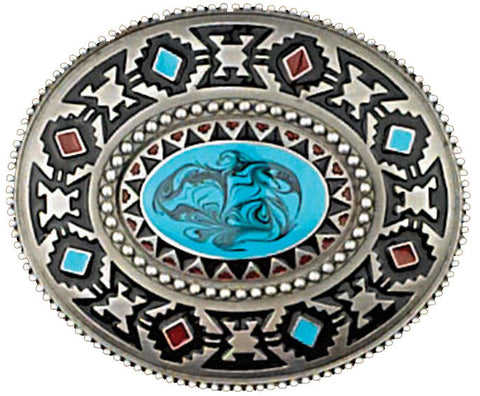 Southwest Blue Stone Buckle 3 x 2-3/4