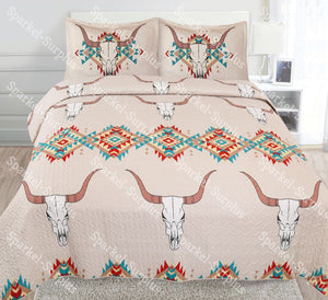 Rustic Skull Horn Western 3pc Quilt Set