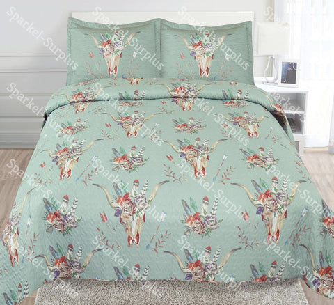 3 COLORS- Skull Skeleton Flower Quilt 3pc Quilt Set