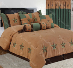 Light Brown & Turquoise Embroidery Star Western Luxury Comforter - 7 Pc Set
