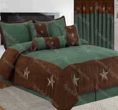 Brown With Turquoise Accents Embroidery Star Western Luxury Comforter - 7 Pc Set