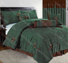 Brown & Turquoise Embroidery Star Western Luxury Comforter - 7 Pc Set