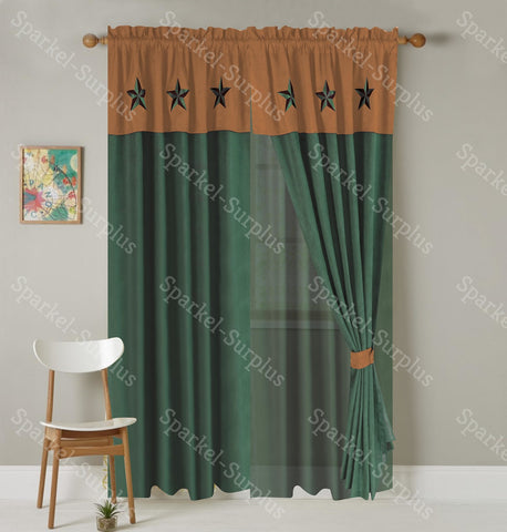 Western Embroidery Star Suede Curtain set  - Turquoise & Brown